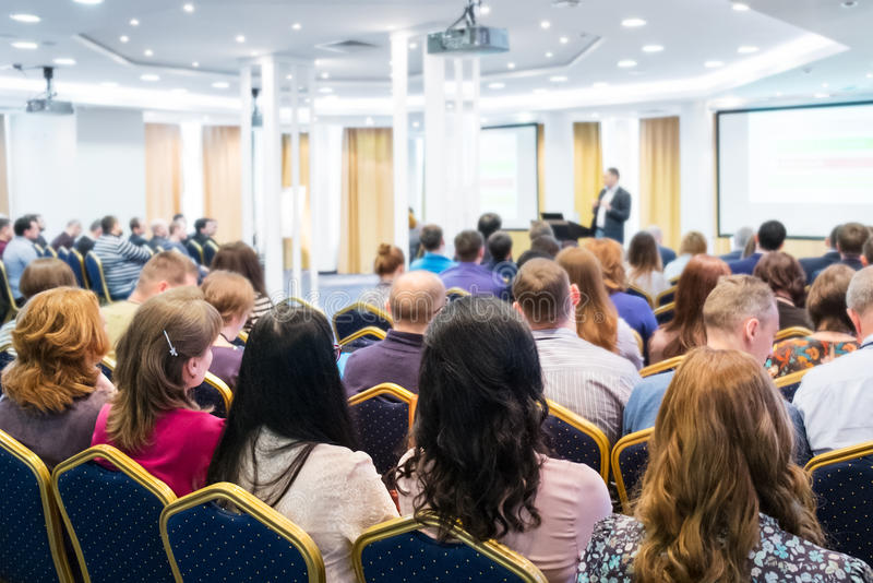 Group of Business People Listening on The Conference. a group of women in the foreground. Horizontal Image royalty free stock photography