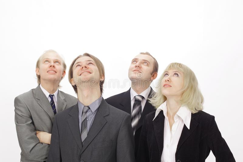 Group of business people looking at copy space royalty free stock image