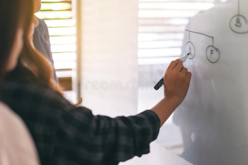 Business people looking and discussing ideas over whiteboard in office stock images
