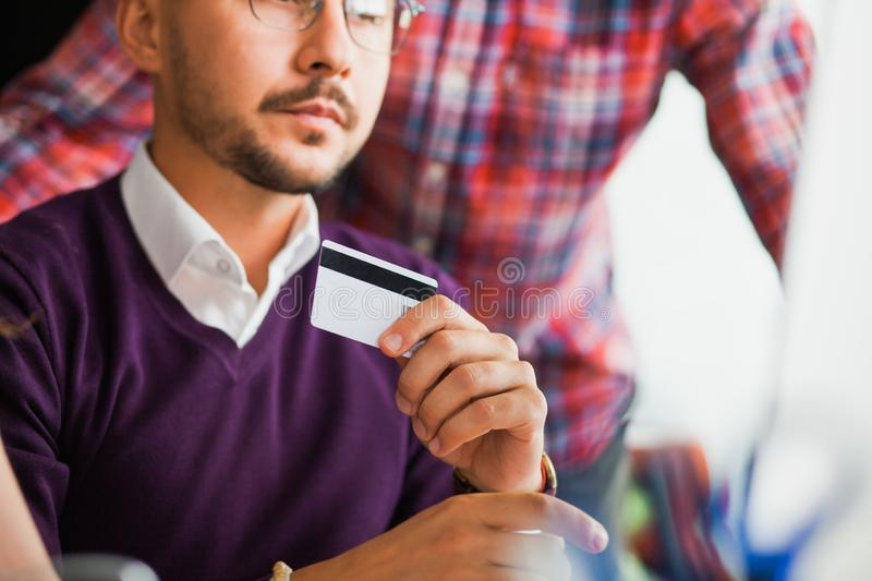 Group of business people make shopping online at office. stock photo