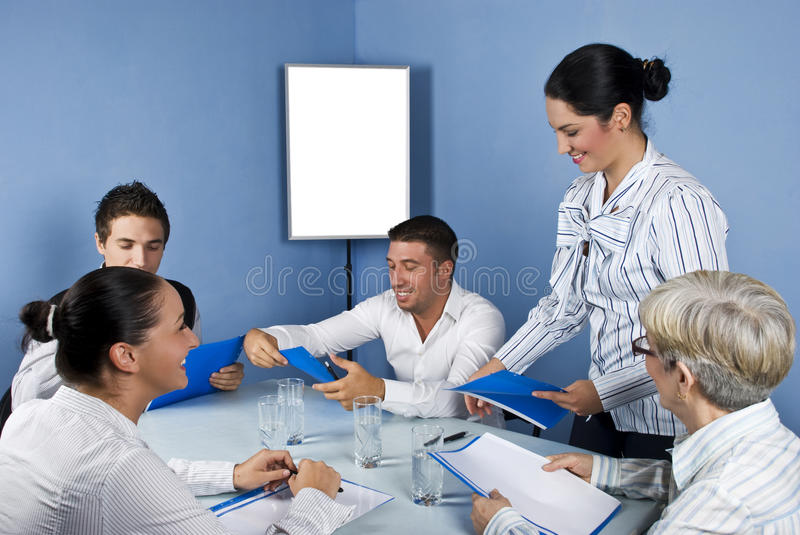 Group of business people in middle of meeting royalty free stock image