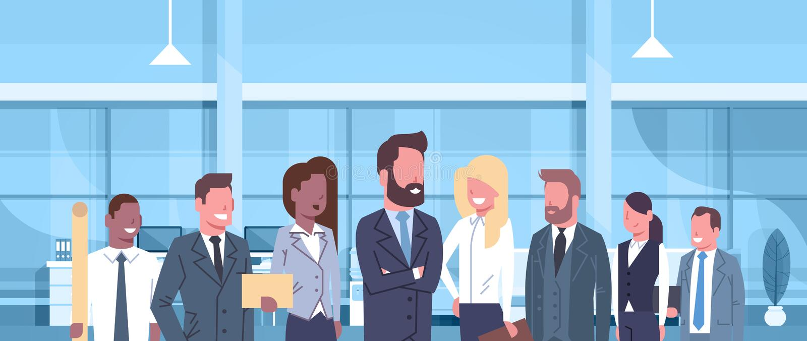 Group Of Business People In Modern Office Concept Team Of Successful Businessmen And Businesswomen Professionals At. Workplace Flat Vector Illustration royalty free illustration