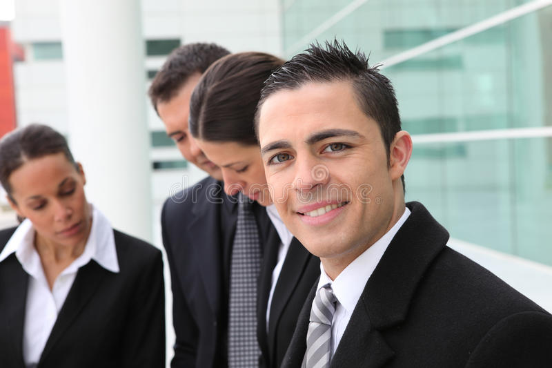 Group of business people outdoors royalty free stock photography