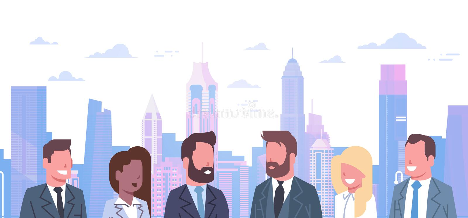 Group Of Business People Over Modern City Background Concept Team Of Successful Businessmen And Businesswomen royalty free illustration