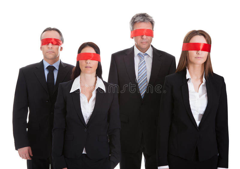 Group Of Business People's Eyes Covered With Ribbon stock photo