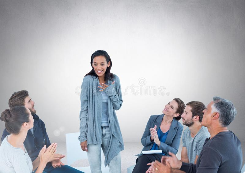 Group of business people sitting in circle meeting in front of blank grey background stock illustration