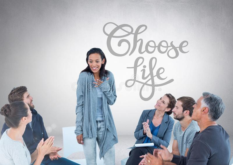 Group of business people sitting in circle meeting in front of Choose Life text vector illustration