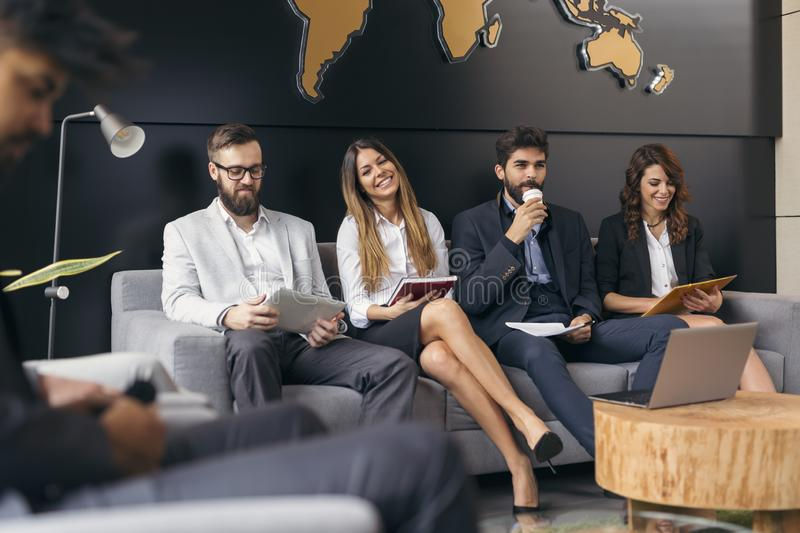 Business people waiting for a job interview stock photography