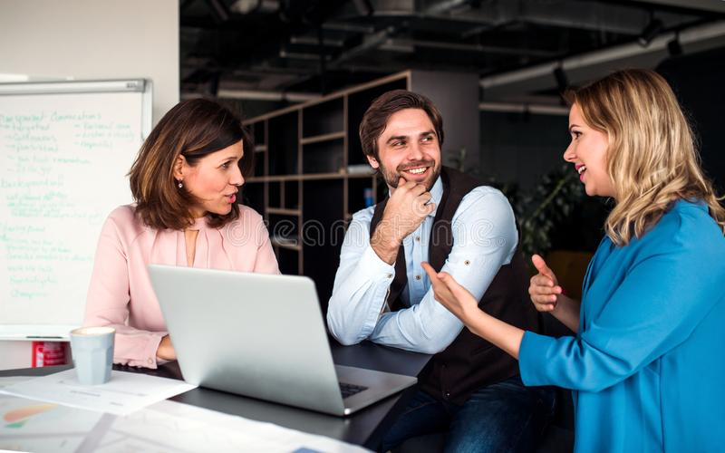 A group of business people sitting in an office, using laptop. stock photos