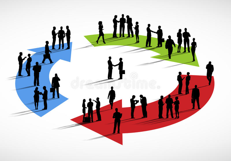 Group of Business People Standing Discussion Cycle Concept.  vector illustration
