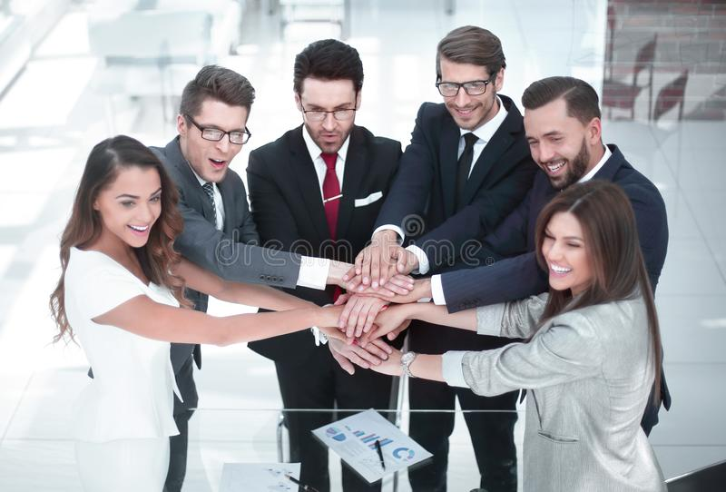 Group of business people starting a new commercial project royalty free stock image