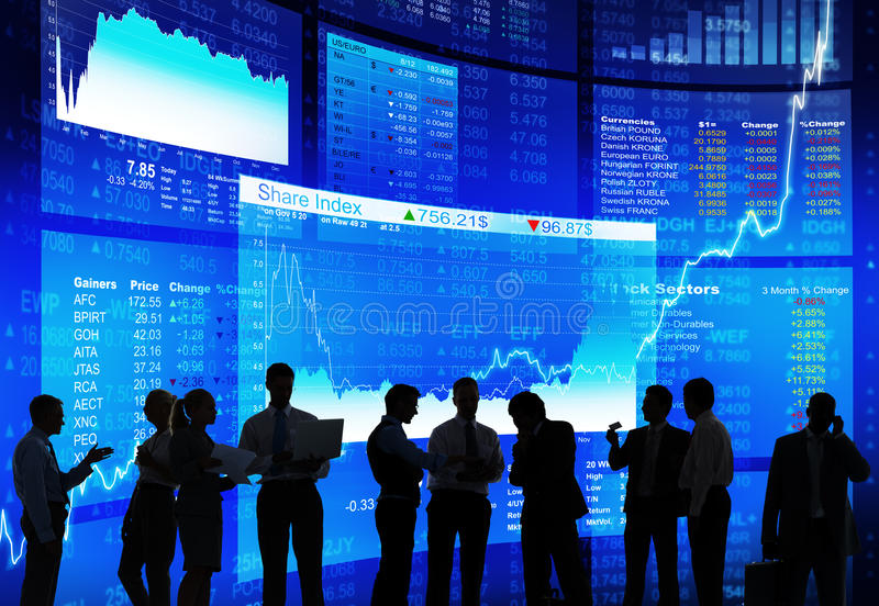 Group of Business People on Stock Market stock images