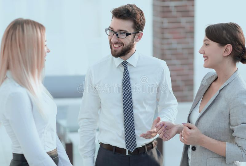 Group of business people talking in office royalty free stock photos