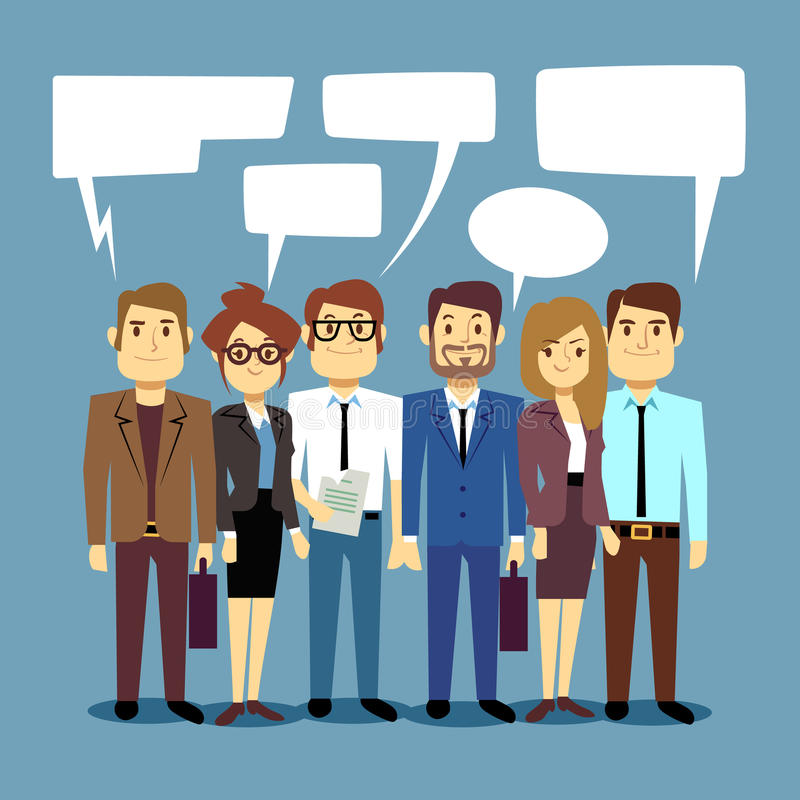Group of business people talking. Teamwork vector concept with human persons and speech bubbles vector illustration