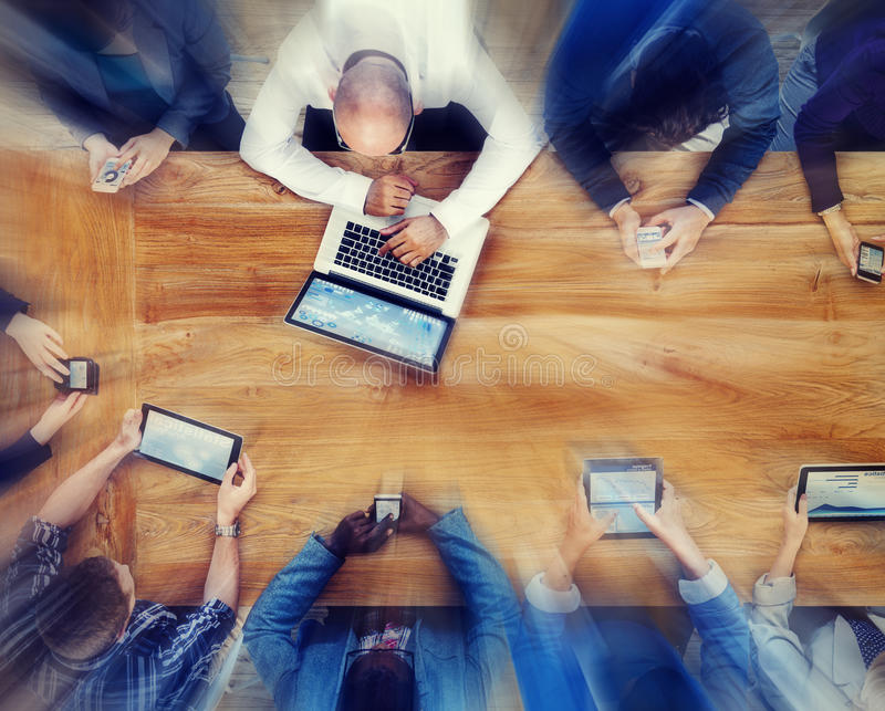 Group of Business People Using Digital Devices Concept.  royalty free stock images