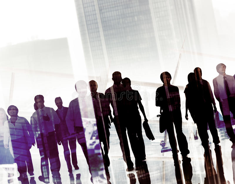 Group Business People Walking Forward Cityscape Concept ...