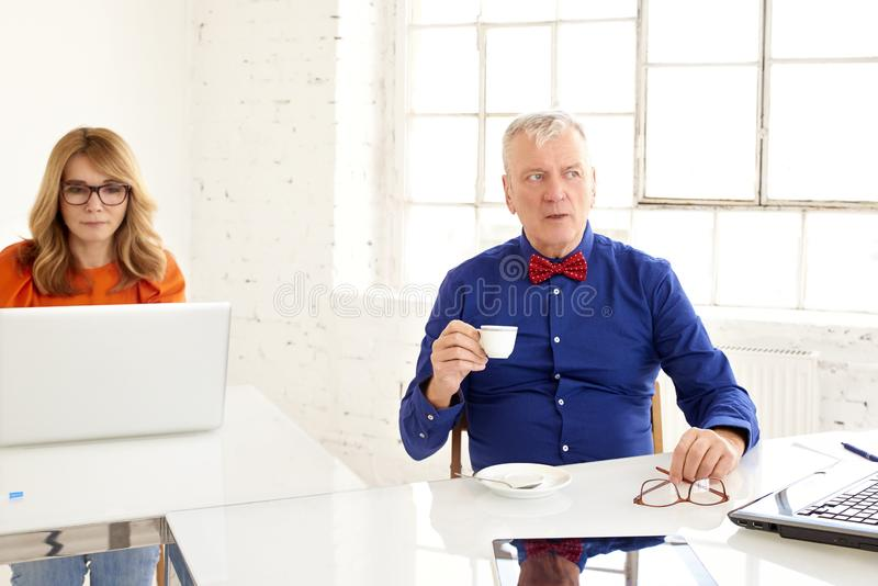 Group of business people working on laptops in the office while senior businessman having coffee royalty free stock photo