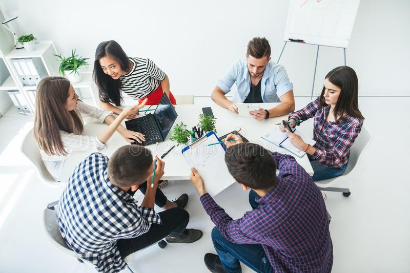 Group of business people working in the office stock photos