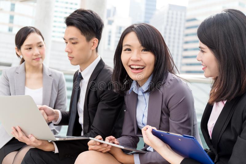 Group of business people working at outdoor royalty free stock photography