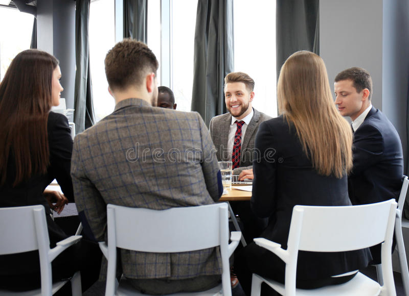 Group business people working together and brainstorming. royalty free stock images