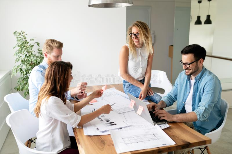 Group of architects and business people working together and brainstorming. Group of business people working together and brainstorming stock photo