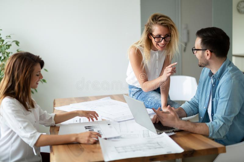 Group of architects and business people working together and brainstorming. Group of business people working together and brainstorming stock photos