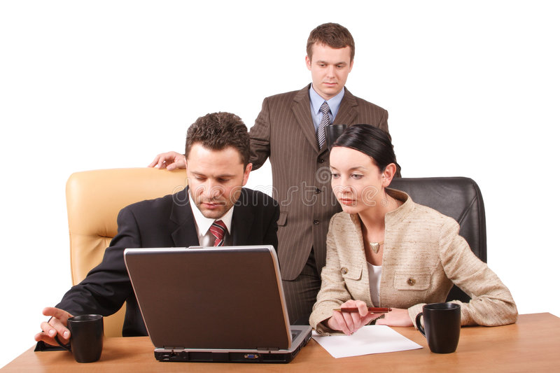 Download Group Of  Business People Working Together  With Laptop In The Office - Horizontal,  Isolated Stock Photo - Image: 509482