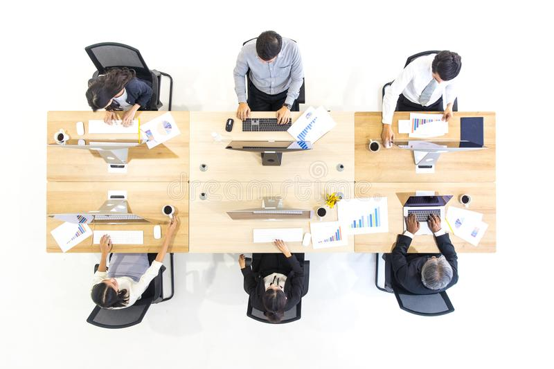 Group of business people working together in modern office,m taken from top view high angle. royalty free stock photography