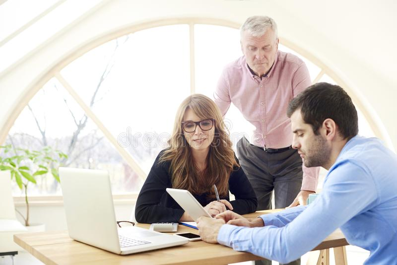 Group of business people working together on new project royalty free stock photography