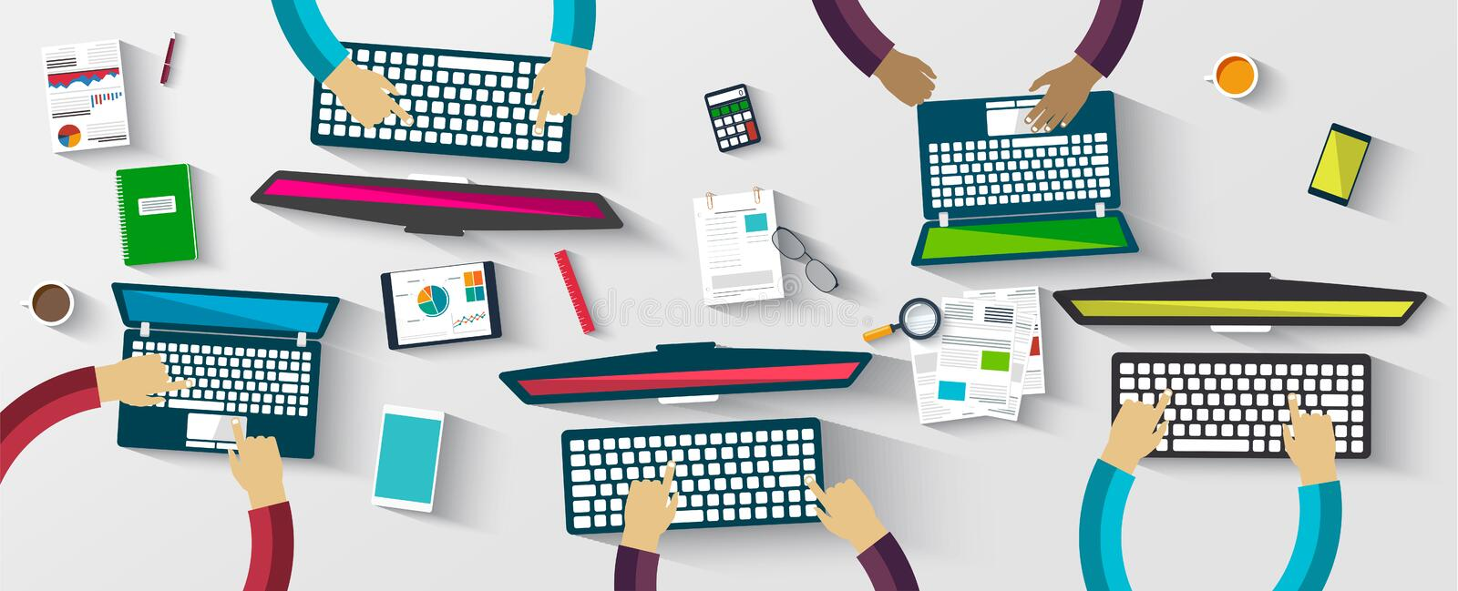 Group of business people working using digital devices. Illustration vector illustration