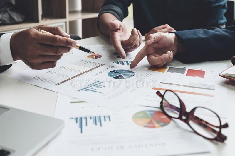 Group of business. Business Team adviser busy discussing financial matter during meeting, Business meeting Concept stock image