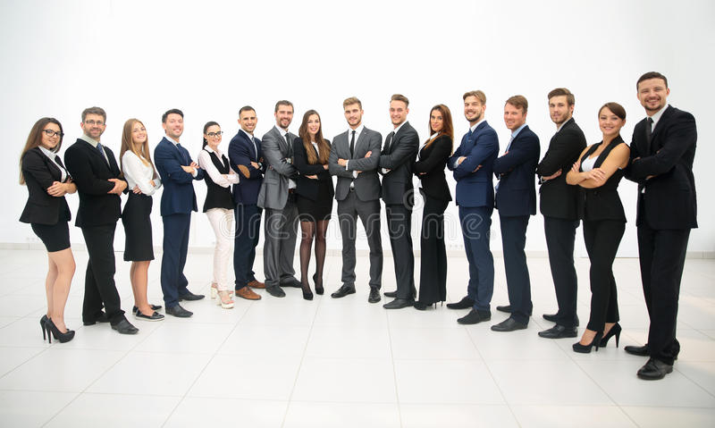 Group of business team standing in a row stock images