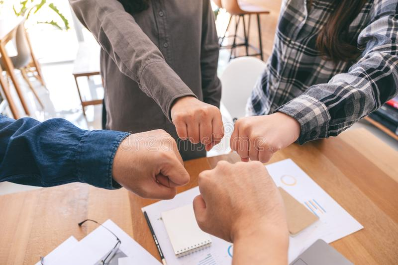 Group of business teamwork join their hands together royalty free stock image