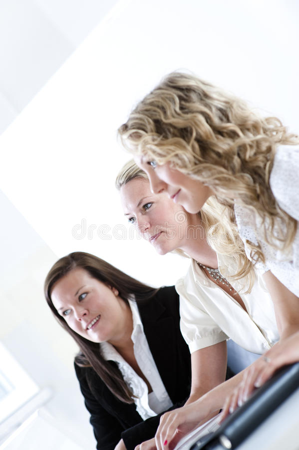 Group of business women. At the office working stock image