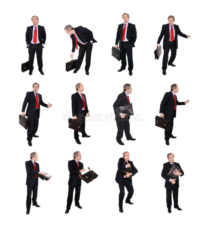 Group of Businessmen with a briefcase. In several business situations in blog size - see individual images available at higher resolution stock photos