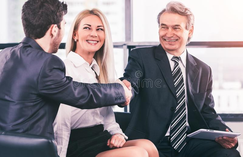 A group of businessmen discussing the policy of the company royalty free stock photos