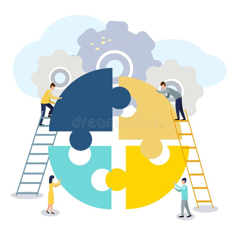 A group of businessmen involved in puzzle pieces, is to support the team, brainstorm or success, to find the perfect idea concept.  vector illustration