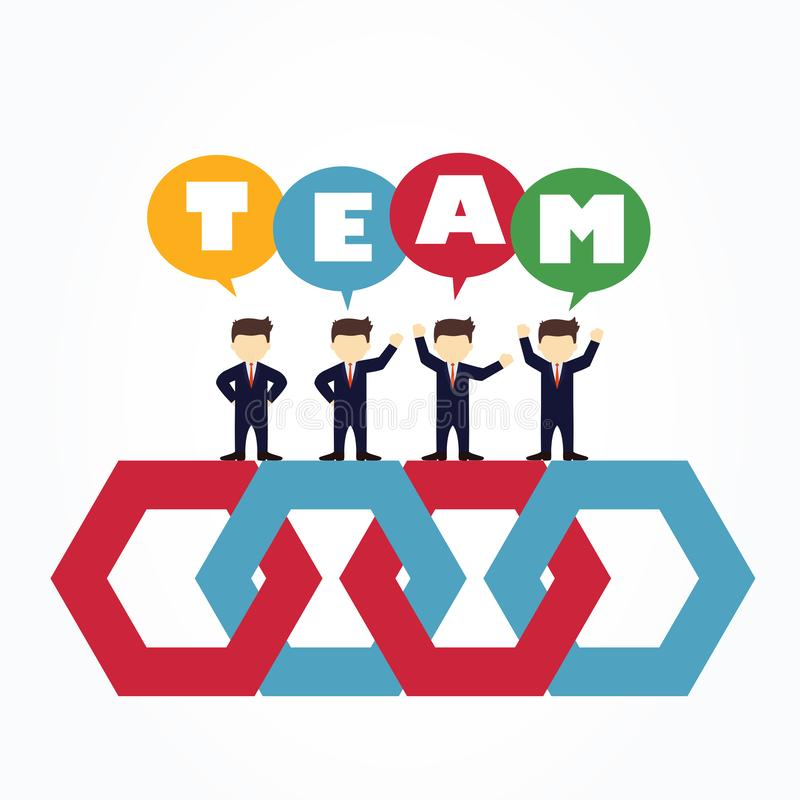 Group of businessmen standing on hexagons. royalty free illustration