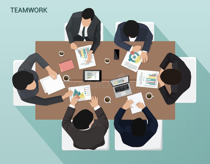 Group of businessmen working at the table Top view vector illustration