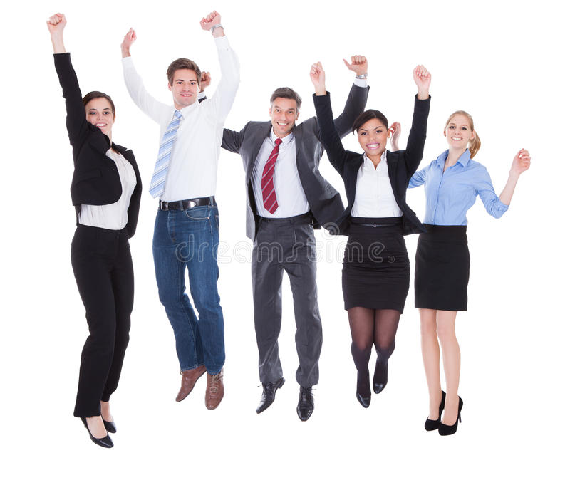 Group of businesspeople raising hands royalty free stock photos