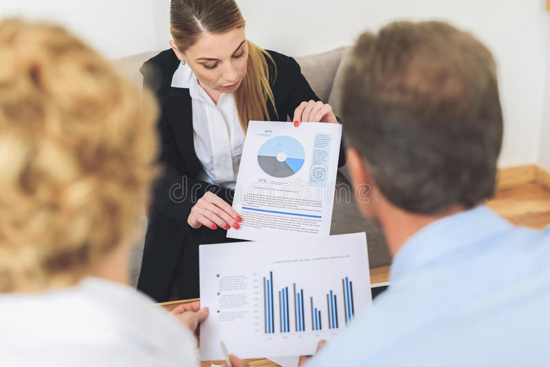 Group of businesspeople working in office royalty free stock image