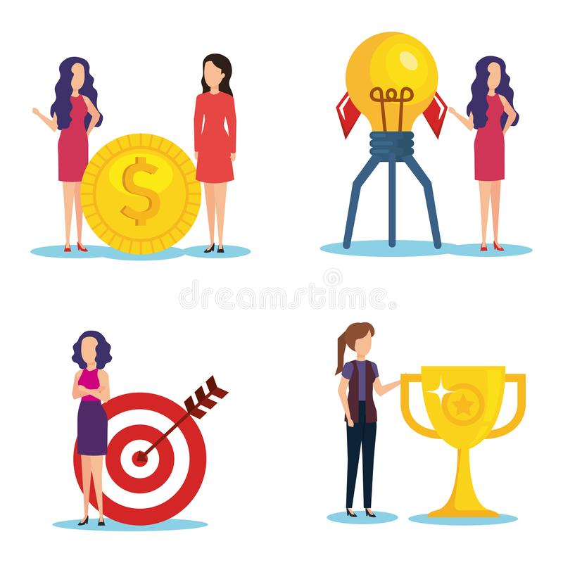 Group of businesswomen with business icons stock illustration