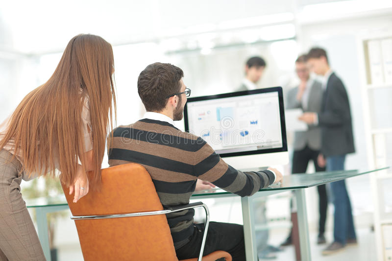 Group of busy business people working in office. Working process,managers team work new project. Photo young business crew working in modern office stock photography