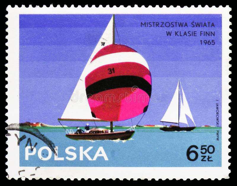 Group of Cadet class, Yachts serie, circa 1965. MOSCOW, RUSSIA - OCTOBER 6, 2018: A stamp printed in Poland shows Group of Cadet class, Yachts serie, circa 1965 stock photo