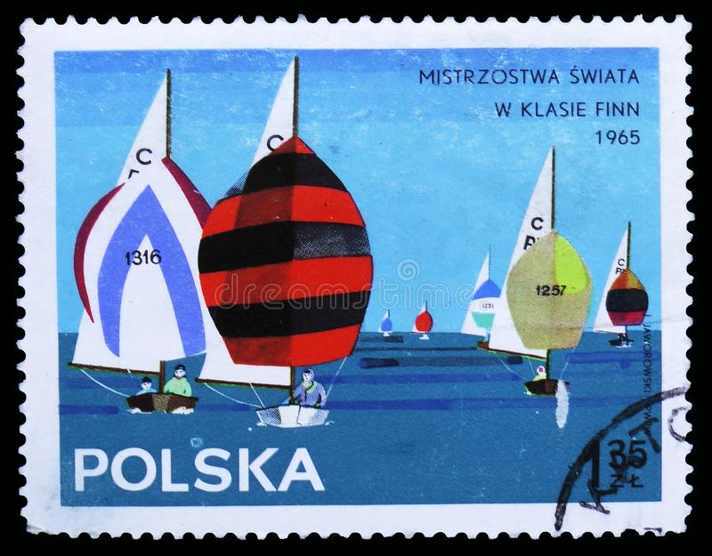 Group of Cadet class, Yachts serie, circa 1965. MOSCOW, RUSSIA - OCTOBER 6, 2018: A stamp printed in Poland shows Group of Cadet class, Yachts serie, circa 1965 stock image