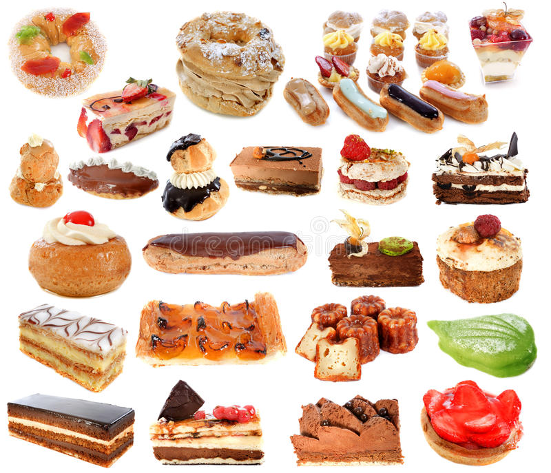 Group of cakes. In front of white background stock photo
