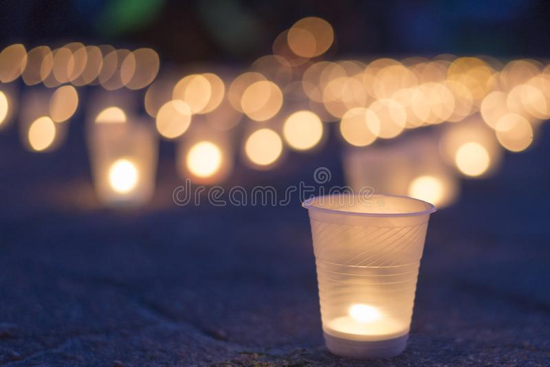 A group of candles burning in street. Day of Remembrance for the Bereaved royalty free stock photography