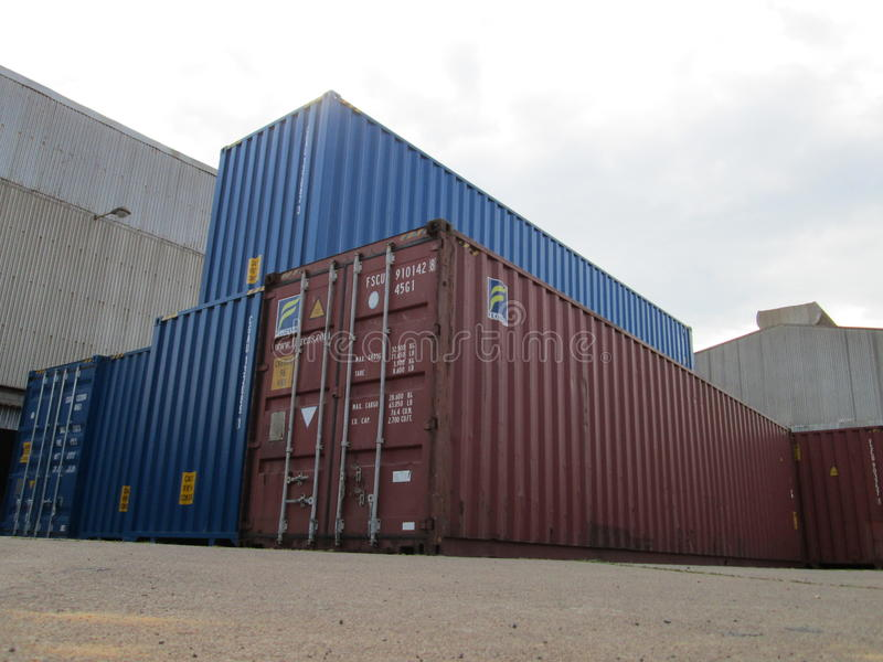Group of cargo containers royalty free stock image