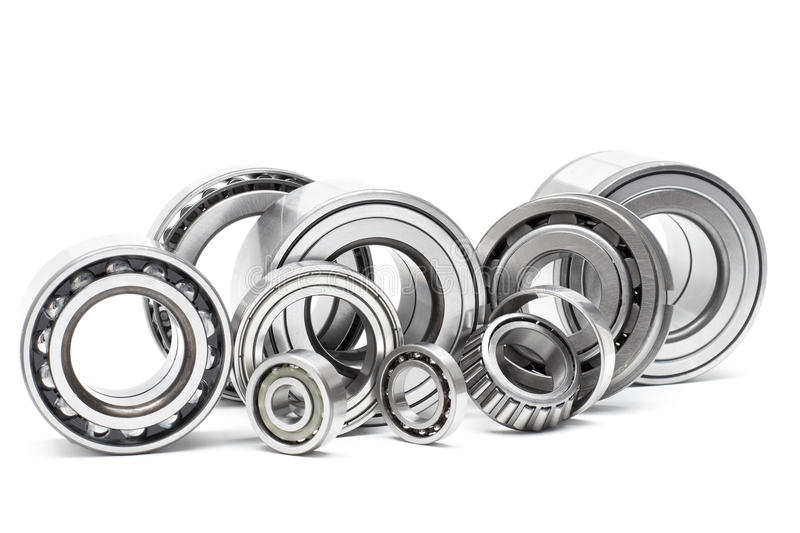 Group cars bearings and rollers. Group bearings and rollers (automobile components) for the engine and chassis suspension royalty free stock image