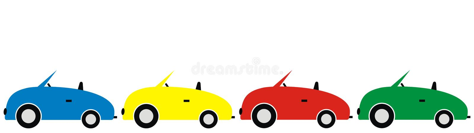 Family cars in a row stock illustration. Illustration of ...